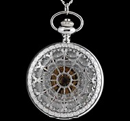 Vintage Large Circular Hollow Heart-Shaped Pattern Metal Clamshell Mechanical Pocket Watch Necklace Watch (1Pc)