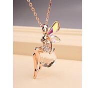 Fashion Cute Crystal Girl Gold Plated Necklace for Women in Jewelry Gift