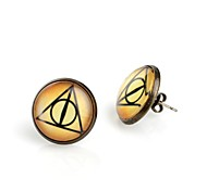 Women's Round Triangle Eyes Antique Bronze Stud Earrings