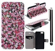 Red Rose Pattern PU Leather Full Body Case with Stand and A Stylus Touch Pen for iPhone 5/5S