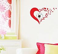 zooyoo® elektronischen Batteriezeitnehmer diy reizendes rotes Herz-Wanduhr Wandaufkleber Wandaufkleberausgangsdekor für Zimmer