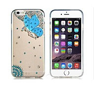 Butterfly Pattern Crystal & Rhinestone Decorated Plastic Case for  iPhone 6 (Transparent)