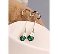 Korea Cute Long Green Clover 18K Gold Plated Stud Earrings for Women in Jewelry