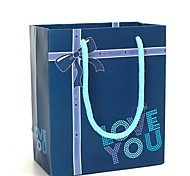 Coway 12.5*7*15 Exquisite Packaging Deep Blue LOVE YOU Party Paper Gift Bag