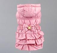Dog Coat Pink / Beige Dog Clothes Winter Solid