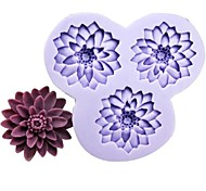 Three Holes Flowers Fondant Cake Chocolate Resin Clay Silicone Mold,L10.5m*W10cm*H1.8cm