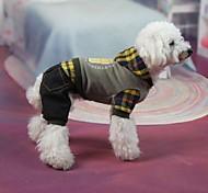 Hunde Mäntel Grau Winter Jeans / Plaid/Karomuster