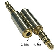 Gold 3.5mm Male to 2.5mm Female Stereo Audio Headphone MIC Adapter Converter