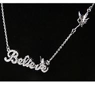Fashion Korea Letter Believe Lovers Necklace for Women in Jewelry Gift