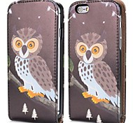 Night Owl Fashion Vertical Style Magnetic Flip PC+PU Leather Case for iPhone 6