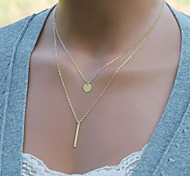 moda shixin® (círculo, i) collar de la aleación pequeño colgante (de oro) (1 unidad)