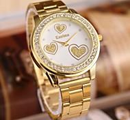 Women's Fashion Lovely Heart Rhinestones Steel Belt Watch