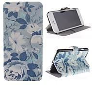 las flores y el patrón de la playa cubierta de cuero de la PU con el soporte para el iphone 6