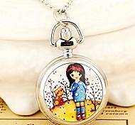 Women's Fashion Cute Small Bowknot Girl Enamel Quartz Movement Necklace Watch