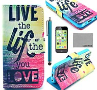 COCO FUN® Love Life Pattern PU Leather Full Body Case with Screen Protector for iPhone 5C