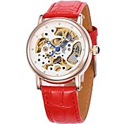 Frauen hohlen Wahlgoldgehäuse Lederband Auto-mechanische Armbanduhr (farbig sortiert)