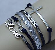 vendimia palabra cruz amor creencia 8 18cm unisex pulsera del abrigo de cuero (1 unidad)