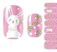 1PCS Lovely Girl Cute White Rabbit Pink Nail Art Stickers