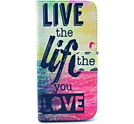 """Live The Life You Love"" Words Pattern PU Leather Full Body Case for iPhone 6"