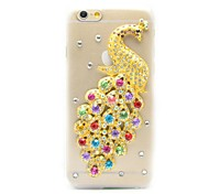 шику 3d павлин шаблон Кристалл Обложка Алмазный Rhinestone жесткий случай для iPhone 6 Plus (разные цвета)