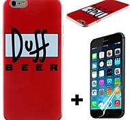 Doff Beer Pattern Hard with Screen Protector Cover for iPhone 6