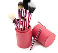 Professional 4 Colors New 12 Pcs Makeup Brush Cosmetic Make Up Brushes Set with Cup Holder Case Kit