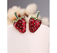 Korea Red Strawberry Imitation Diamond 18K Gold Plated Stud  Earrings for Women in Jewelry
