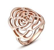 Simple Style Classic Austrian Crystals Rose/White Gold Plated Roses Ring Flower Party Jewelry