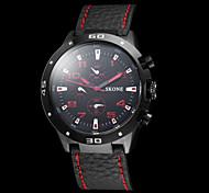Herren-Sport-Art-Leder-Band-Quarz-Armbanduhr (farbig sortiert)