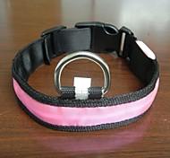 Adjustable Fashionable Flashing Nylon LED Light Pet Dog Collar Safety Collar for Christmas (DD-WT, Pink, L)