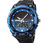 SKMEI Мужской Спортивные часы электронные часы С двумя часовыми поясами Солнечная энергия Цифровой Солнечная энергия Pезина Группа