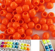 Approx 100PCS 8x9MM Orange Pearlescent Pony Beads For Rainbow Loom Bracelet DIY Accessories