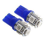 t10 1w 100lm 5 × 5050 SMD llevó la luz azul para lámparas salpicadero del coche / de la puerta / maletero (dc12v 2pcs)