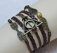 Vintage Harry Potter owl wings pearl 18cm Unisex  Leather Wrap Bracelet(1 Pc)