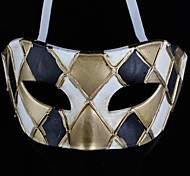Back-to-ancient Jazz Black and White and Golden Lattice PS Half Face Halloween Party Mask