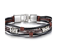 Fashion Leather Gothic Style Beatles Stainless Steel Bracelet (1 Pc)