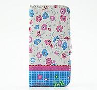 pink-blau-Blumen-Muster PU-Leder Ganzkörper-Case mit Ständer und Diamant für Samsung s5 mini