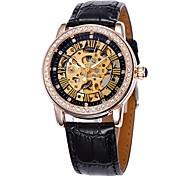 Frauen Hohlwahlgolddiamantkasten Lederband automatische mechanische Armbanduhr (farbig sortiert)