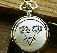 Women's Fashion Small White Rose Enamel Quartz Movement Necklace Watch