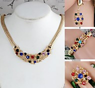 Flower-Shaped Alloy Inlay Rhinestone Sets Necklace+Bracelet+Earrings+Ring Gold (1Set)