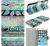 Green Totems Pattern PU Leather Full Body Cover with Card Slot for iPhone 6