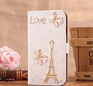 diamant ijzeren toren vlinder pu leer full body case met standaard en de kaartgleuf voor Samsung Galaxy Note 2 n7100