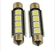 carking ™ 12v 2pcs 5050-4smd-41mm voiture feston intérieur lampe lumière rome lumière blanche