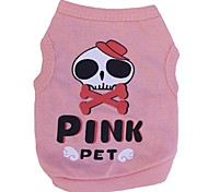 Lovely PINK Skull Pattern 100% Cotton Vest for Pets Dogs (Pink Assorted Sizes)