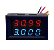 """0,28 """"de 4 dígitos dc 0 ~ 33.00v 0 ~ ~ 999.9ma tensión 3a medidor de corriente - rojo + azul"""