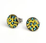 Fashion Hot Green Leopard Stainless Steel Stud Earrings