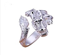 R060402-Fashionable Man Silver Alloy Silver Dragon Mouth Ring