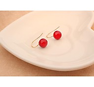 Fashion Cute Red Agate Alloy Stud Earrings for Women in Jewelry