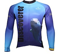 PALADIN Bike/Cycling Jersey / Tops Men's Long Sleeve Breathable / Ultraviolet Resistant / Quick Dry 100% Polyester White / Sky BlueS / M