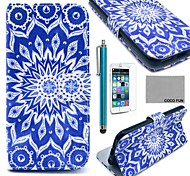 COCO FUN® Blue Peacock Pattern PU Leather Full Body Case with Screen Protecter, Stand and Stylus for iPhone 6 6G 4.7